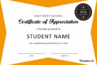 Editable 30 Free Certificate Of Appreciation Templates And Letters Student Council Award Certificate Template Example