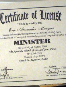 editable certificate of ministry license template pastor license certificate template example blank