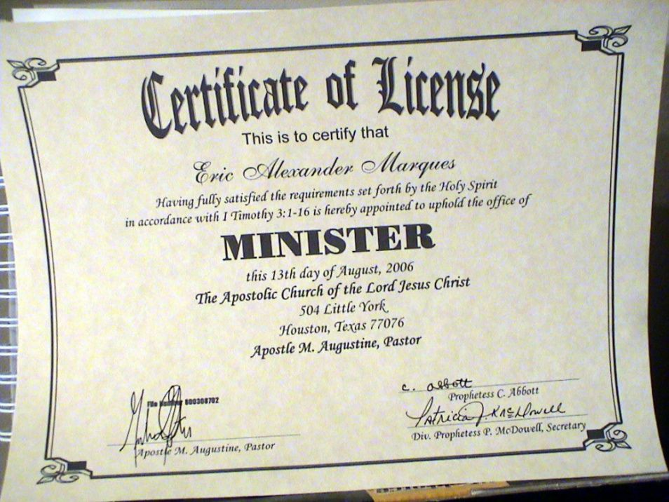 photograph regarding Free Printable Minister License Certificate identified as Pastor License Certification Template