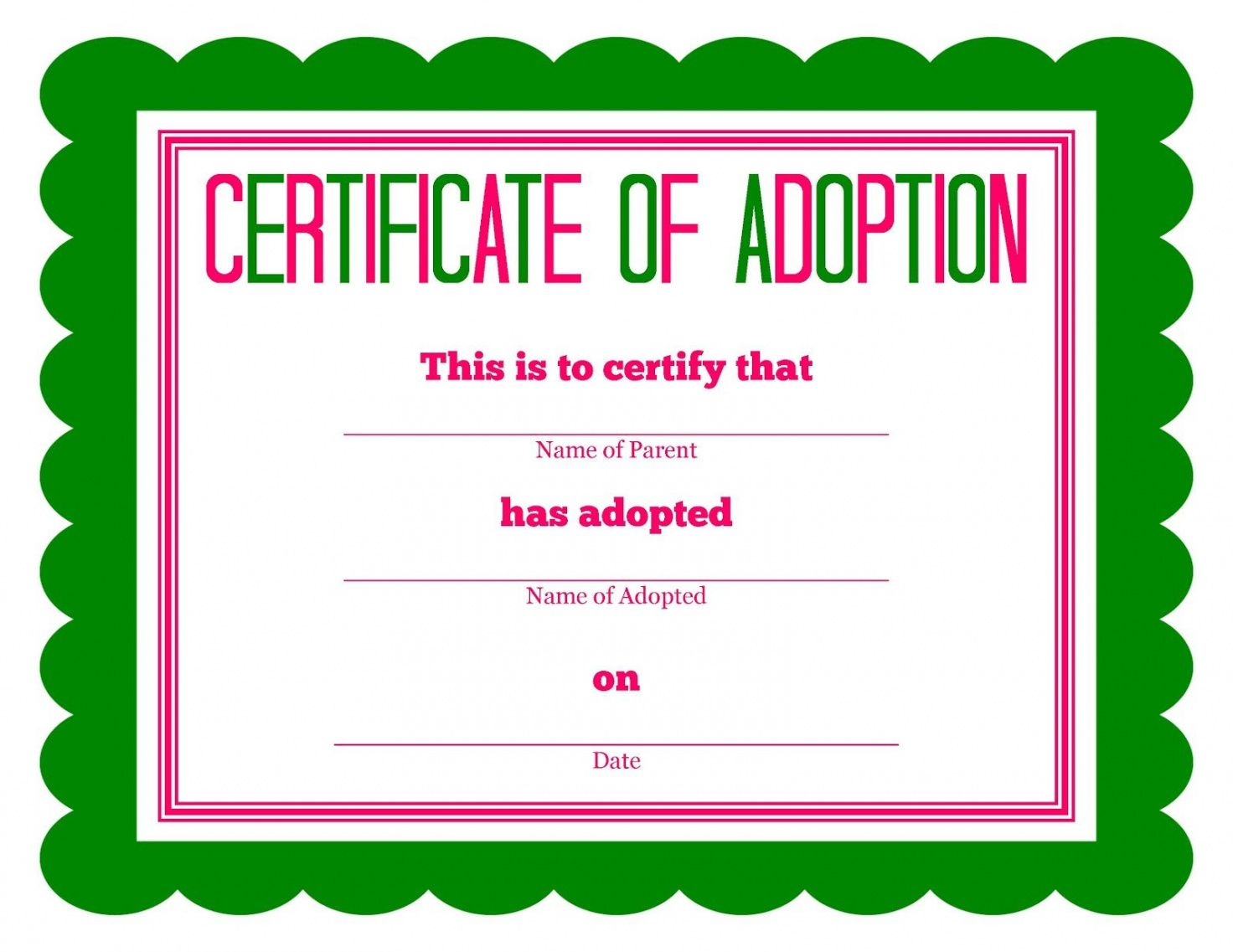 editable free printable stuffed animal adoption certificate | free printables animal adoption certificate template pdf blank