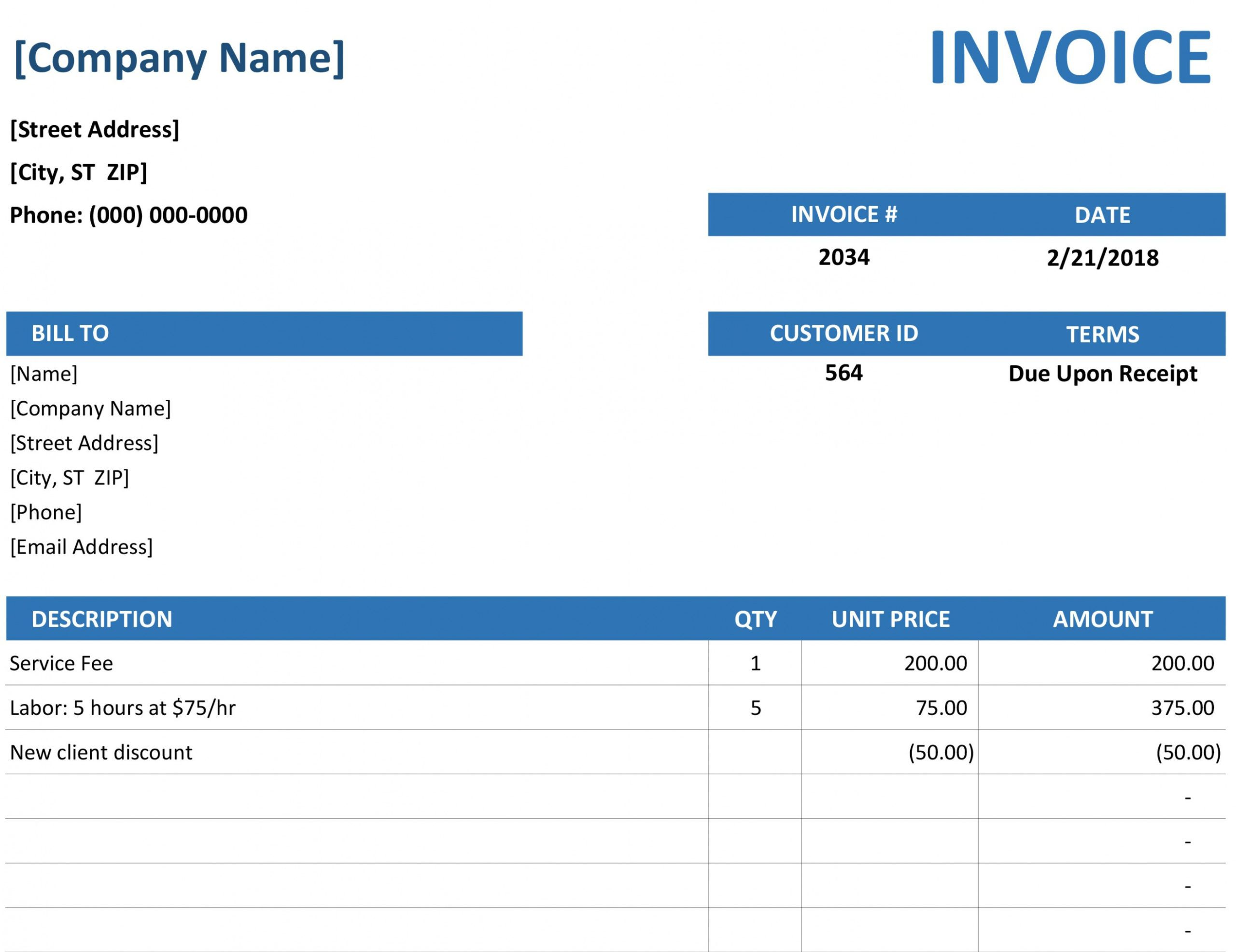 editable invoices - office personal service invoice template example blank