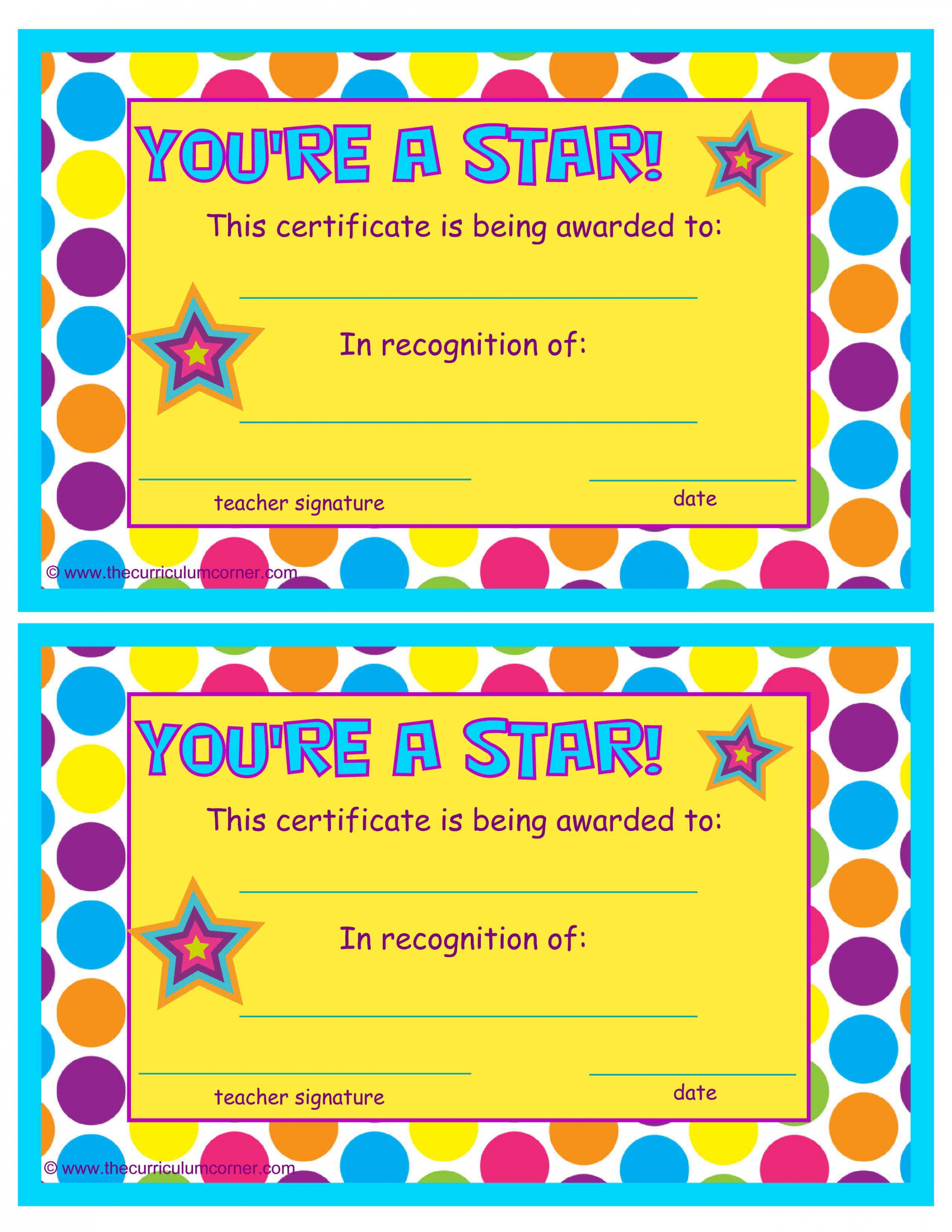 editable you're a star end of the year certificates | classroom star student certificate template pdf