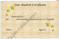 Free English Worksheets: Star Student Certificate Template (Editable) Star Student Certificate Template Example