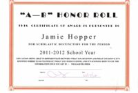 Free Honor Roll Certificates Template High School Honor Roll Certificate Template Example Blank