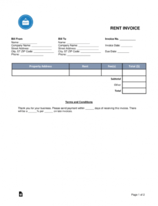 free rental (monthly rent) invoice template - word | pdf | eforms rent payment invoice template  blank