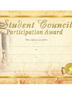 free student council participation gold foil-stamped certificates student council award certificate template doc