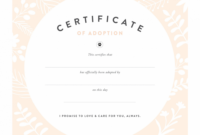 Pretty Fluffy Animal Adoption Certificate Template Example Blank