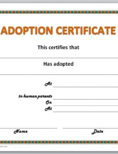 printable adoption certificate template animal adoption certificate template word blank