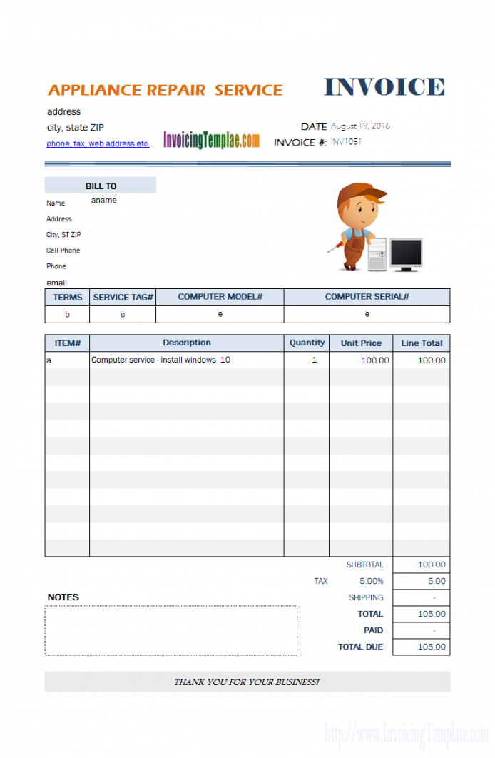 printable appliance repair service invoice template | sketchbooks | invoice repair order invoice template word