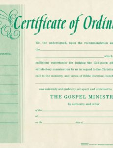 printable free blank certificate of ordination | ordination for minister pastor license certificate template pdf blank