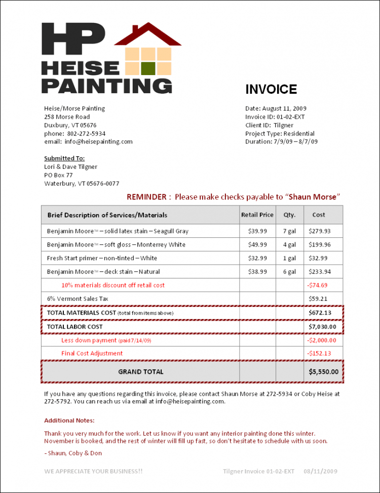 printable free printable painters invoice and sample painting invoice template sample painting invoice template doc