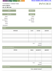 printable independent contractor invoice contract employee invoice template word