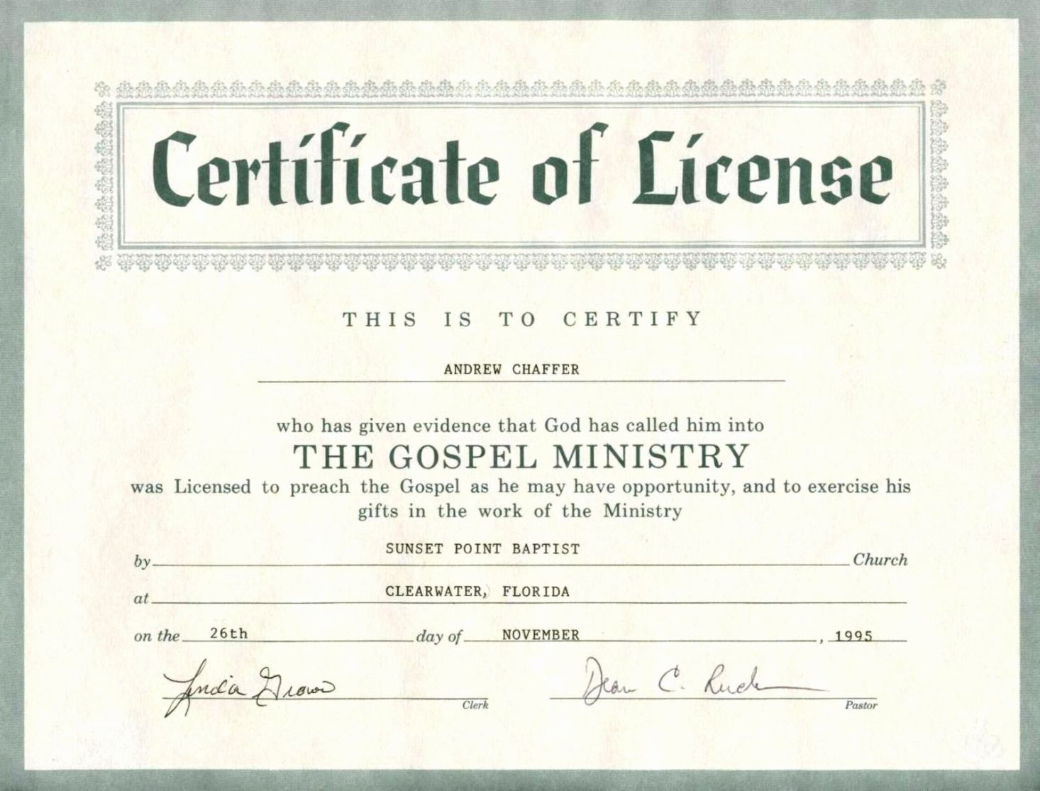 graphic relating to Free Printable Minister License Certificate referred to as Pastor License Certification Template