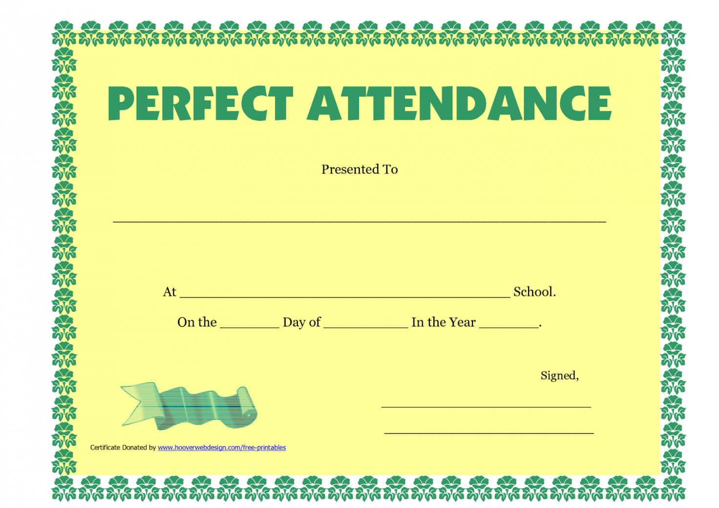 photograph about Perfect Attendance Certificate Printable known as Printable Best Attendance Certification Printable Absolutely free