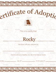 printable pet adoption certificate design template in psd, word animal adoption certificate template word