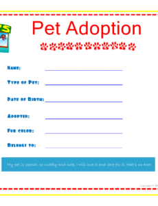 printable pet adoption certificate for the kids to fill out about their pet animal adoption certificate template sample blank