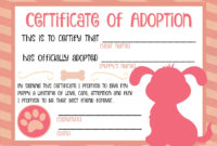 Printable Puppy Adoption Certificate … | Party Ideas In 2019… Animal Adoption Certificate Template Word Blank