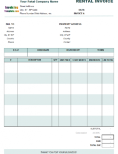 printable rental invoicing template rental property invoice template word blank