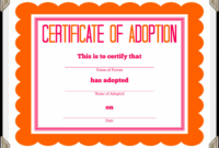 Printable Stuffed Animal Adoption Certificate Animal Adoption Certificate Template  Blank