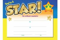 Printable You're A Star! Award Gold Foil-Stamped Certificate | Positive Promotions Star Student Certificate Template  Blank