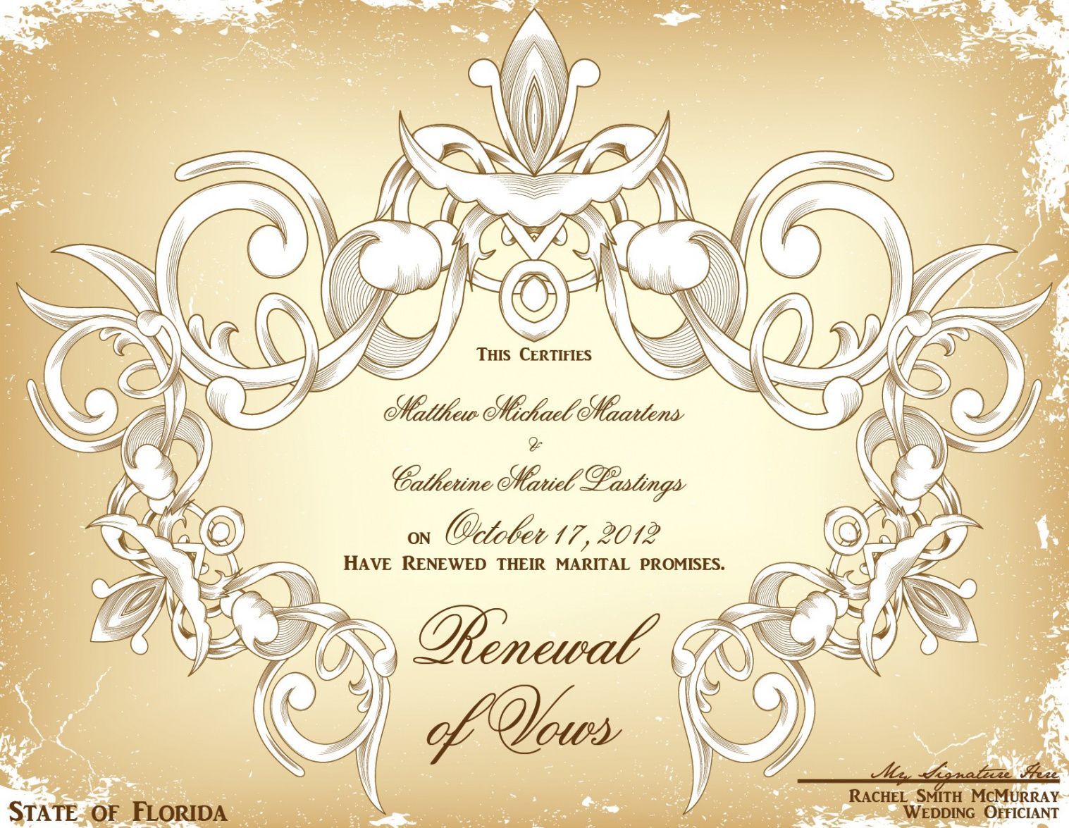 vow renewal certificate template. baby blessing certificates renewal of marriage vows certificate template