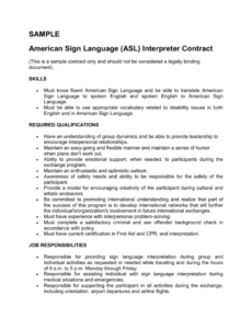 editable sample asl interpreter contract sign language interpreter invoice template sample blank