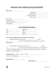 free car private sale receipt template - pdf | word | eforms – free motor vehicle invoice template pdf