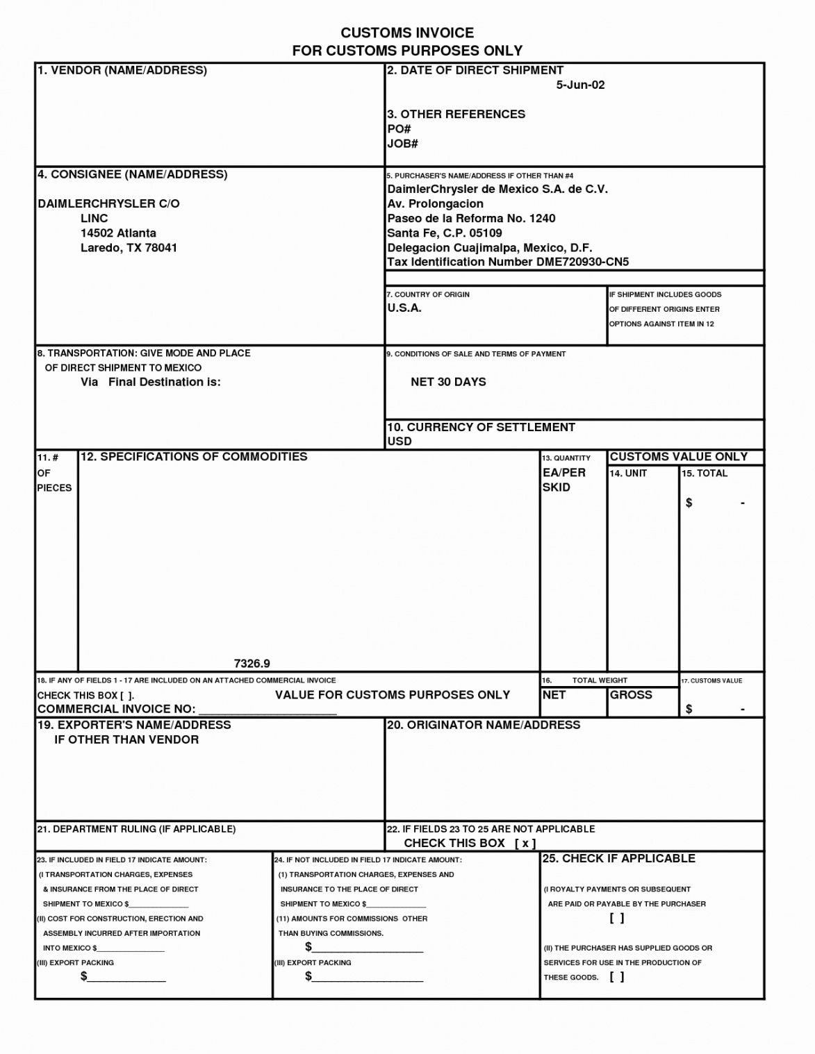 free customs commercial invoice template – amandae.ca us commercial invoice template  blank