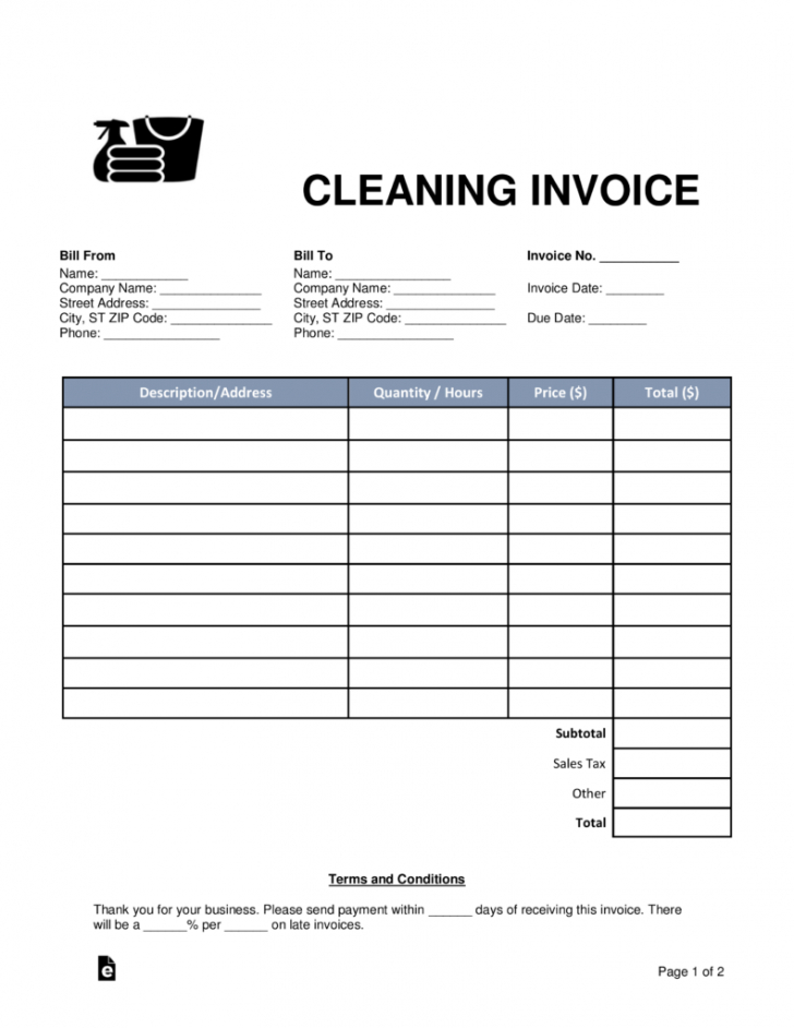 free free cleaning (housekeeping) invoice template - word | pdf | eforms maid service invoice template example blank