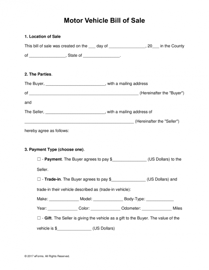 free motor vehicle (dmv) bill of sale form - word | pdf | eforms motor vehicle invoice template example