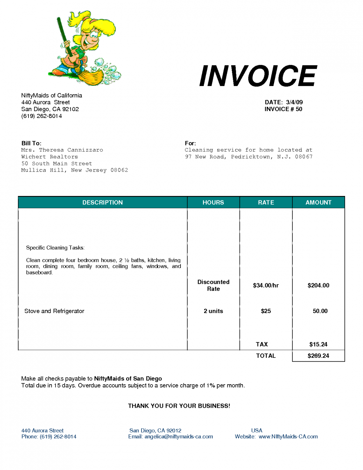 printable cleaning bill invoice | services invoice | ideas for the house maid service invoice template sample