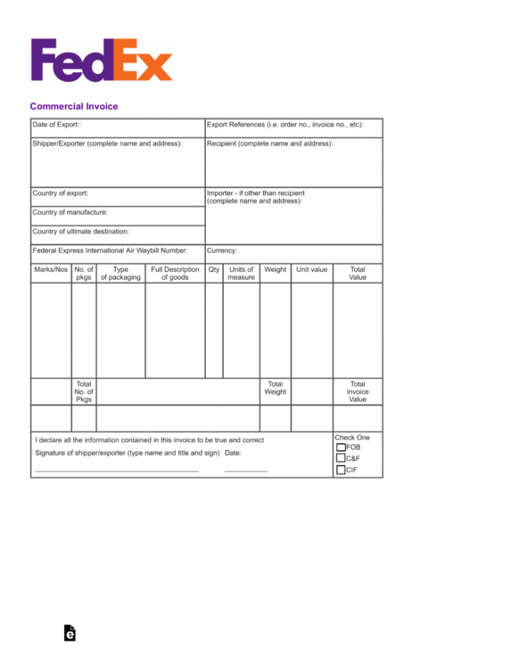 printable free fedex commercial invoice template - pdf | eforms – free us commercial invoice template doc blank
