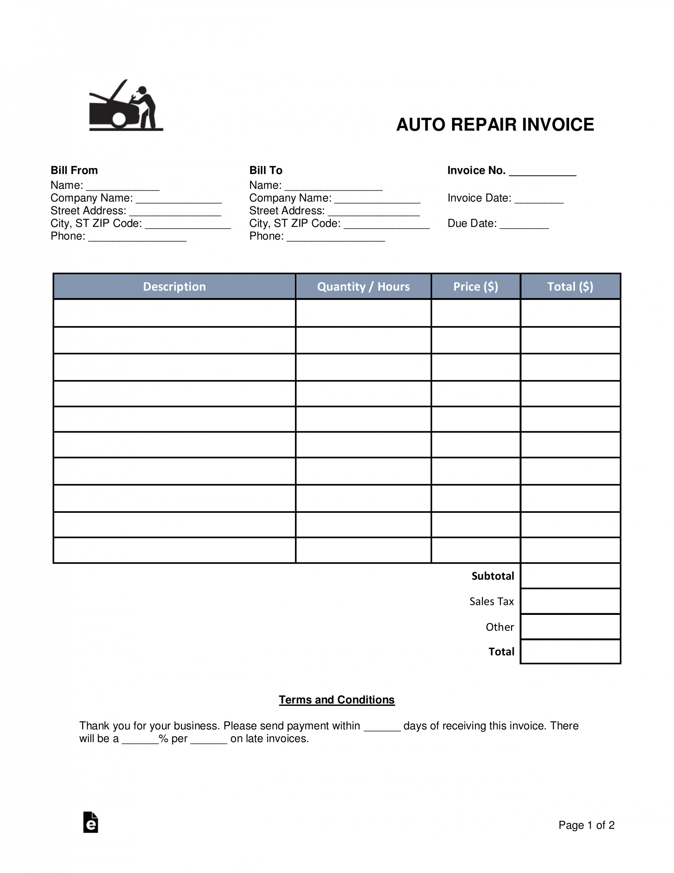 free 004 template ideas auto repair invoice staggering templates auto shop invoice template