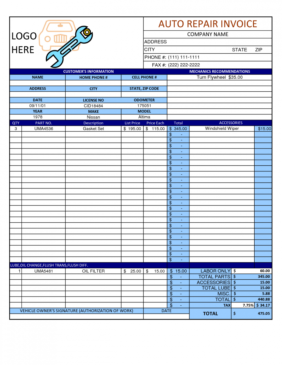 free mechanic shop invoice | scope of work template | mechanic auto shop invoice template pdf