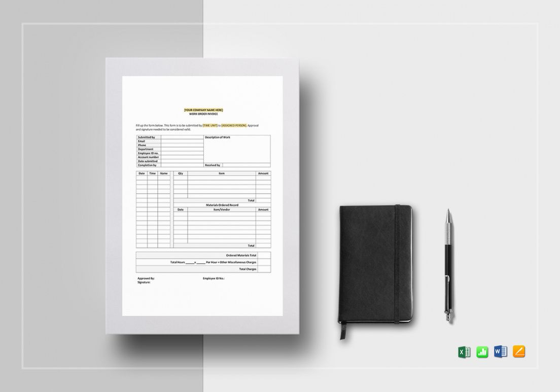 free work order invoice template work order invoice template sample