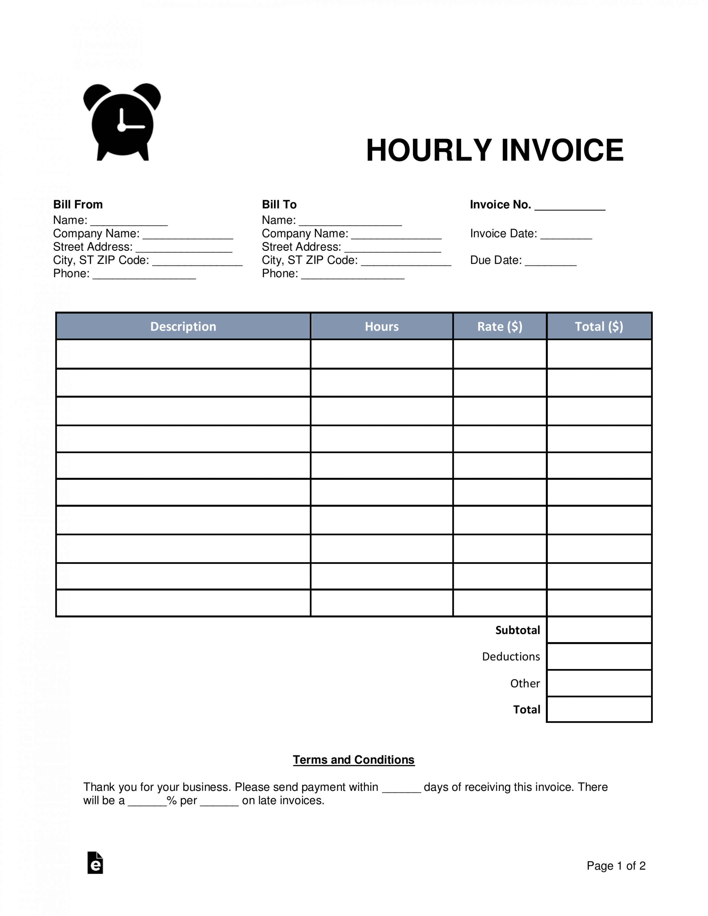 hourly invoice - togo.wpart.co freelance hourly invoice template example