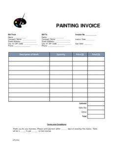 painters invoice template free | apcc2017 house painting invoice template doc