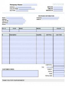 printable auto shop invoice template - saves.wpart.co auto shop invoice template sample