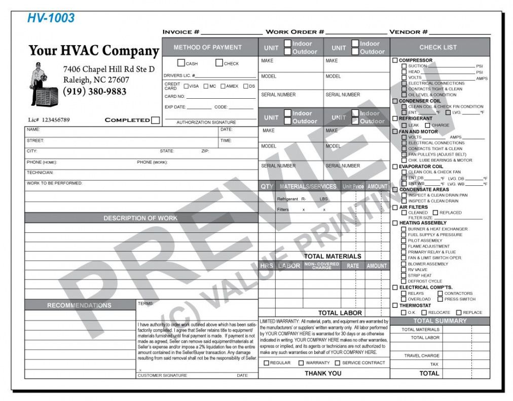 printable hv-1003 hvac time & materials work order invoice #1 | value time and material invoice template sample