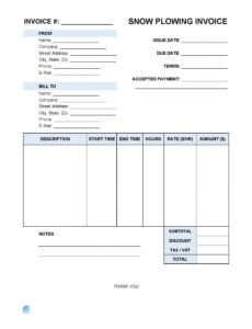 snow plowing invoice template | invoice maker snow plowing invoice template example