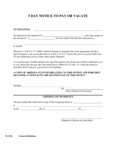 arizona 5day notice to pay or vacate form  notice to quit pay or vacate notice template example