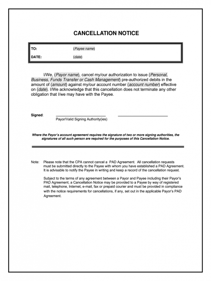 cdnpay ca cancellation form  fill online printable pre authorized payment form template