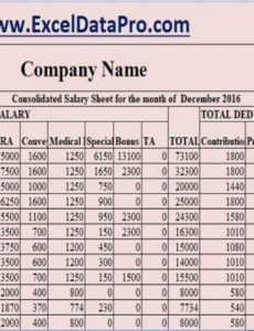 download salary sheet excel template  exceldatapro employee payroll register template example