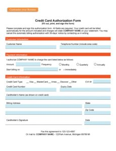 free 41 credit card authorization forms templates {readytouse} credit card payment slip template word