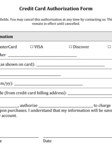 free credit card authorization form templates download credit card payment slip template excel