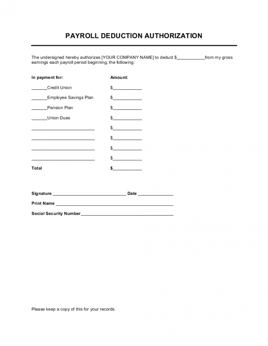 free payroll deduction authorization template businessinabox™ employee payroll deduction form template doc