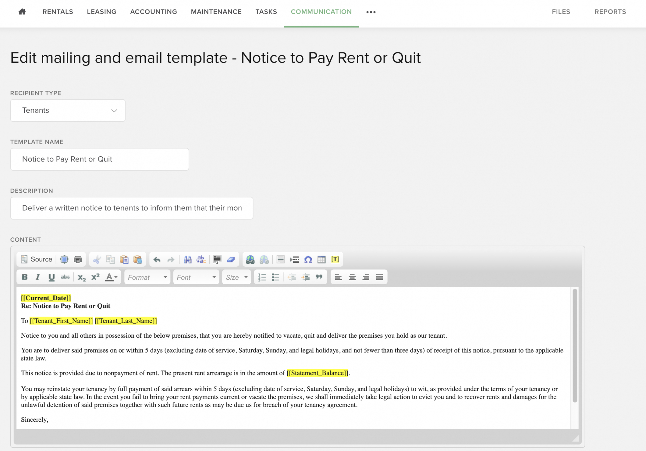 late rent payment process  buildium  process street pay or vacate notice template sample