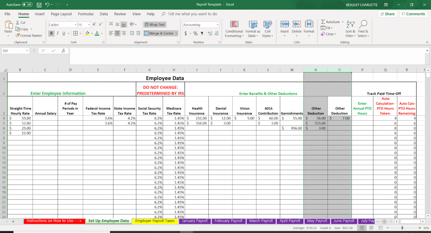 printable how to do payroll in excel in 7 steps  free template small business payroll template pdf