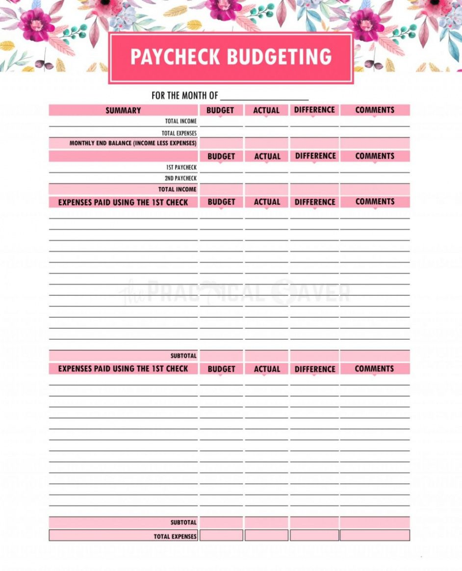 printable paycheck to budget spreadsheet worksheet template weekly bi weekly paycheck budget template sample