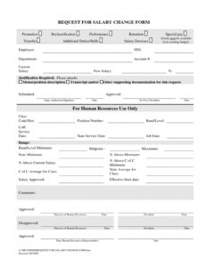 sample excellent request for salary change form sample  vmd employee payroll change form template word